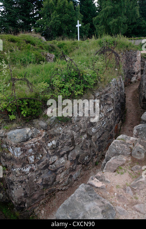 Le Linge, Vosges Mountains Alsace France First world war battlefield, trenches  cross marks recent body of French - Stock Photo