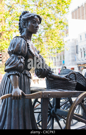 Dublin Ireland - bronze statue of Molly Malone on Grafton Street, beside Trinity College, by sculptor Jeanne Rynhart. - Stock Photo