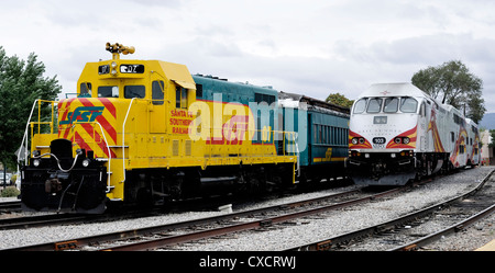 Southern Railway and Rail Runner Trains, Santa Fe, New Mexico - Stock Photo