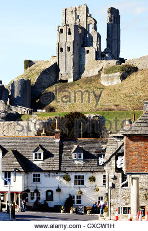 Corfe Castle viewed from East Street, Corfe Castle, Dorset, England - Stock Photo