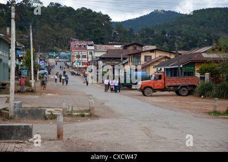 Myanmar, Burma. Kalaw Street Scene. - Stock Photo