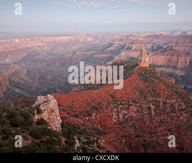 Mount Hayden at dusk from Point Imperial, North Rim, Grand Canyon National Park, UNESCO World Heritage Site, Arizona - Stock Photo