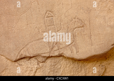 Soldier riding a horse petroglyph, Chetro Ketl, Chaco Culture National Historical Park, UNESCO World Heritage Site, - Stock Photo