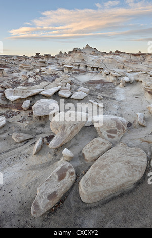 Rocks in the badlands at sunrise, Bisti Wilderness, New Mexico, United States of America, North America - Stock Photo
