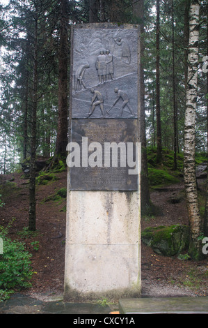 The High Tauern National Park, Salzburgerland, Austria Memorial plaque to the builders of the road - Stock Photo