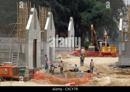 Hong Kong, establishing the stable area for the Olympic Equestrian Games 2008 - Stock Photo