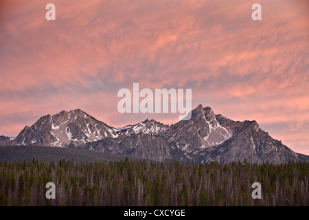 Sunset clouds over McGowen Peak on the right and Mt. Regan on the left, in the Sawtooth Range, Sawtooth National - Stock Photo
