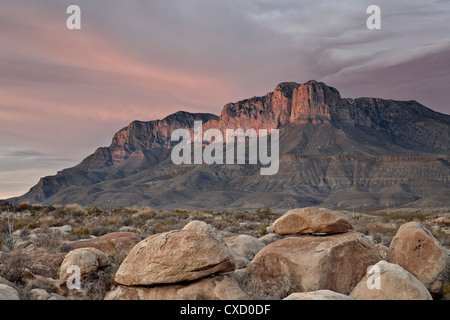 Guadalupe Peak and El Capitan at sunset, Guadalupe Mountains National Park, Texas, United States of America, North - Stock Photo