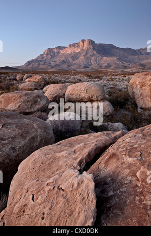 Guadalupe Peak and El Capitan at dusk, Guadalupe Mountains National Park, Texas, United States of America, North - Stock Photo