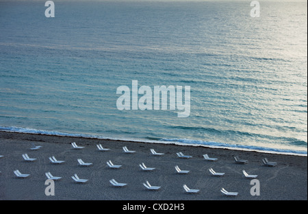 Empty beach, South Beach, Miami Beach, Florida, United States of America, North America - Stock Photo