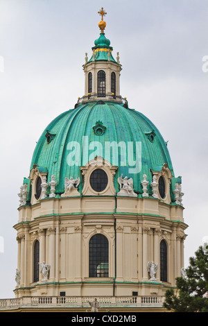 Dome of the Karlskirche (St. Charles's Church), Vienna, Austria - Stock Photo