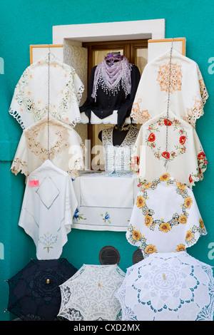 Handmade lace on Burano Island, Venice, Veneto, Italy, Europe - Stock Photo