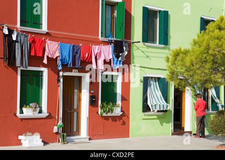 Corte Novello on Burano Island, Venice, Veneto, Italy, Europe - Stock Photo