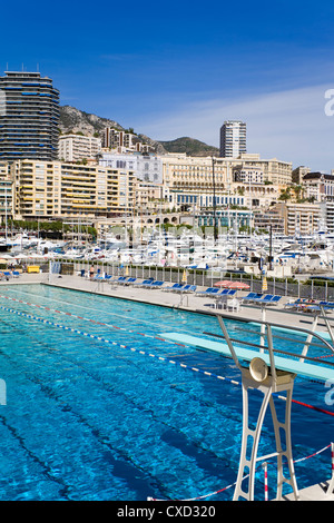 Swimming pool in La Condamine area, Monte Carlo, Monaco, Mediterranean, Europe - Stock Photo