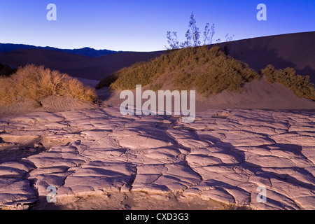 Dried mud in the Mesquite Flat Sand Dunes, Death Valley National Park, California, United States of America, North - Stock Photo