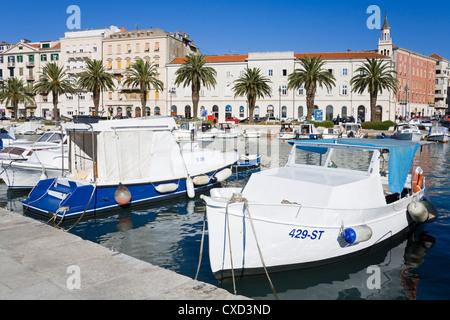 Fishing boats in Split, Dalmatian Coast, Croatia, Europe - Stock Photo