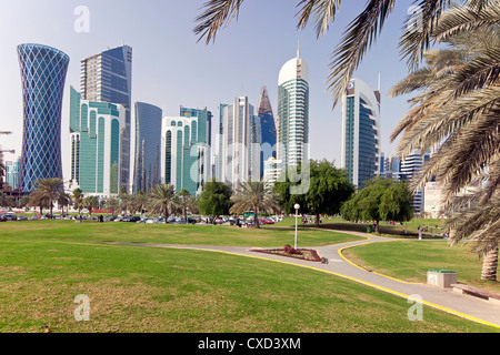 Modern skyline of the West Bay central financial district, Doha, Qatar, Middle East - Stock Photo