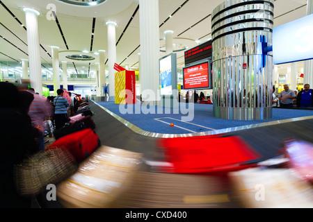 Baggage Carousel in the Arrivals Hall, Terminal 3, Dubai International Airport, Dubai, United Arab Emirates, Middle - Stock Photo