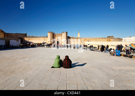 Second hand market outside the Kasba City Gate, Fez, Morocco, North Africa, Africa - Stock Photo