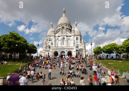 Basilique du Sacre Coeur, Montmartre, Paris, France, Europe - Stock Photo