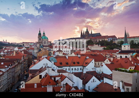 St. Vitus cathedral and St. Nicholas church, Prague, Czech Republic, Europe - Stock Photo