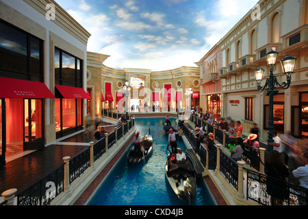 he Grand Canal Gondola Ride at the Venetian Resort Hotel Casino, Las Vegas, Nevada, United States of America, North - Stock Photo