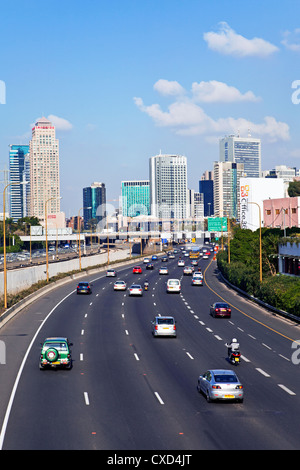 Modern road system leading to the Commercial Centre, Tel Aviv, Israel, Middle East - Stock Photo