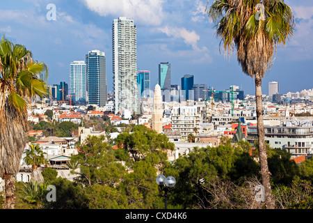 Downtown buildings viewed from HaPisgah Gardens (The Summit Garden), Jaffa, Tel Aviv, Israel, Middle East - Stock Photo