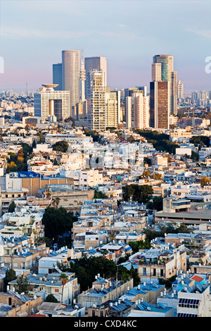Elevated city view towards the commercial and business centre, Tel Aviv, Israel, Middle East - Stock Photo
