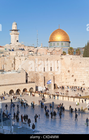 Jewish Quarter of the Western Wall Plaza and Dome of the Rock above, Old City, UNESCO World Heritage Site, Jerusalem, - Stock Photo