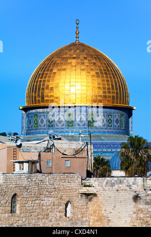 Dome of the Rock above the Western Wall Plaza, Old City, UNESCO World Heritage Site, Jerusalem, Israel, Middle East - Stock Photo