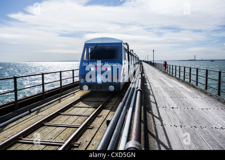 Electric driven train on the longest pleasure pier in the world (at Southend-on-Sea, England). - Stock Photo