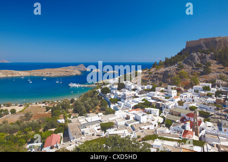 Lindos and the acropolis, Rhodes, Dodecanese, Greek Islands, Greece, Europe - Stock Photo