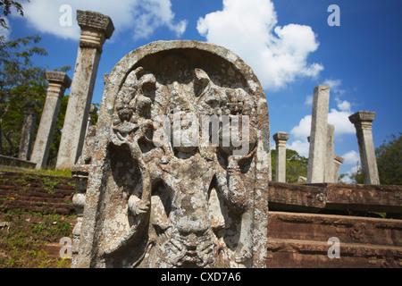 Guardstone of Kujjatissa Pabbata in Mahavihara Monastery, Anuradhapura, North Central Province, Sri Lanka - Stock Photo