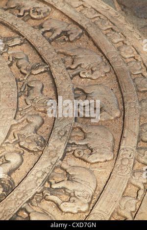 Moonstone at Vatadage, Quadrangle, Polonnaruwa, UNESCO World Heritage Site, North Central Province, Sri Lanka, Asia - Stock Photo