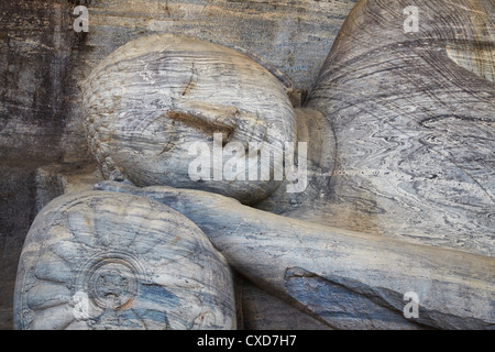 Reclining Buddha statue, Gal Vihara, Polonnaruwa, UNESCO World Heritage Site, North Central Province, Sri Lanka, - Stock Photo