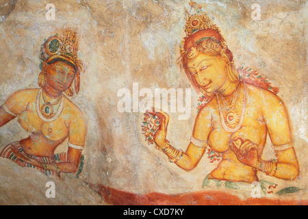 Ancient frescoes, Sigiriya, UNESCO World Heritage Site, North Central Province, Sri Lanka, Asia - Stock Photo