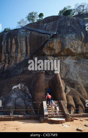 People climbing up Sigiriya, UNESCO World Heritage Site, North Central Province, Sri Lanka, Asia - Stock Photo