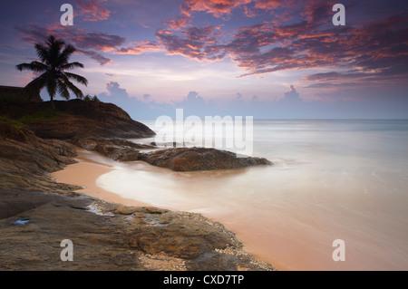 Bentota beach at sunset, Western Province, Sri Lanka, Asia - Stock Photo