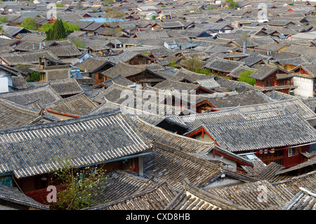 roofs of lijiang old town, yunnan, china - Stock Photo