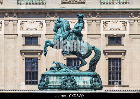 Statue of Prince Eugene of Savoy in front of Hofburg Palace, Vienna (Austria) - Stock Photo