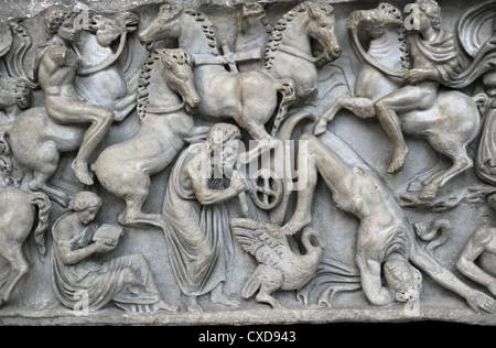 Roman Art. Sarcophagus Chest with the Phaeton Myth. The fall of Phaeton. Found in Ostia. Carlsberg Glyptotek. Copenhagen. - Stock Photo