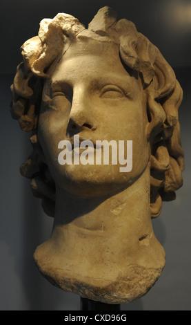 Alexander III the Great (356-323 B.C.). King of Macedonia (336 to 323 B.C.). Roman bust. Ny Carlsberg Glyptotek. - Stock Photo