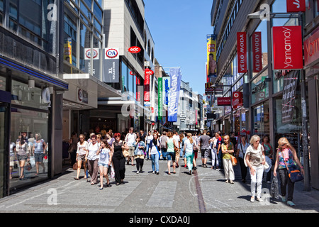 Pedestrians in the city centre of Cologne, Hohe Strasse, North Rhine-Westphalia, Germany, Europe - Stock Photo