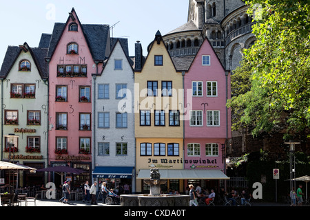 Houses in the historic district and Great St. Martin Church, Cologne, North Rhine-Westphalia, Germany, Europe, - Stock Photo