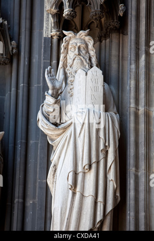 Limestone figure of Moses on the main portal, Koelner Dom, Cologne Cathedral, Germany, Europe - Stock Photo
