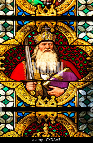 Charlemagne, Charles the Great, 747-814, Emperor of the Carolingian Empire, coloured  window, Cologne Cathedral, - Stock Photo