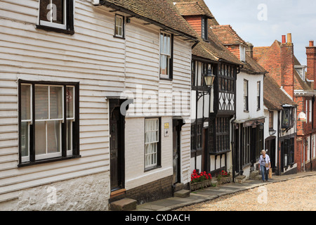 Cobbled street with white clapboard and timbered buildings in medieval town of Rye, East Sussex, England, UK, Britain - Stock Photo