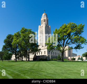 Nebraska State Capitol, Lincoln, Nebraska, USA - Stock Photo