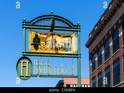 Sign for the historic Haymarket district, Lincoln, Nebraska, USA - Stock Photo